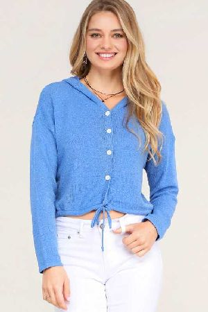 Button Down Long Sleeve Hoodie