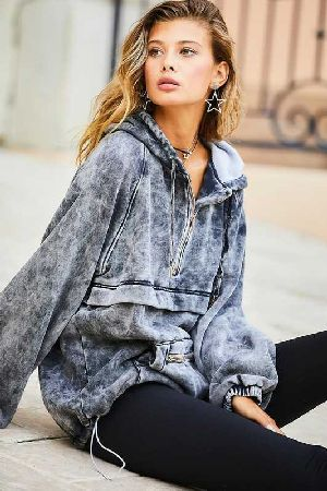 Fleece Mineral Wash Pullover  Jacket