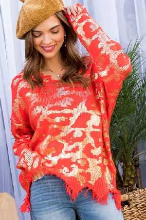 Frayed V Neck Leopard Print Sweater