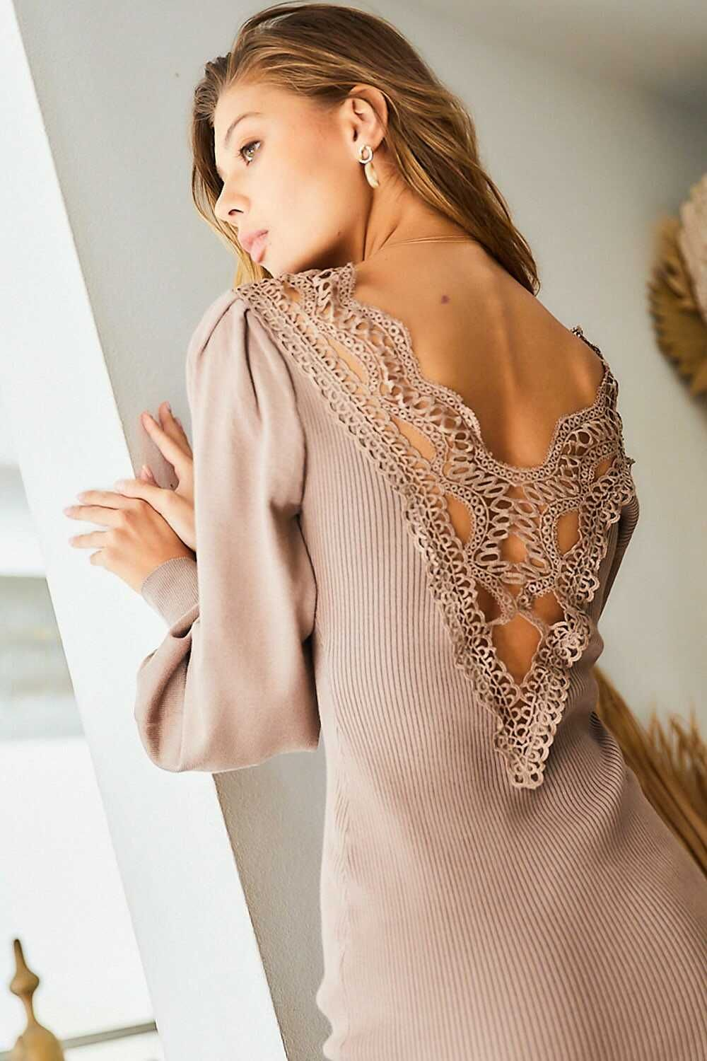 V Neck Bubble Sleeve Back Lace Midi Sweater Dress