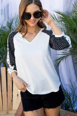 V Neck Contrast Woven Dot Print top