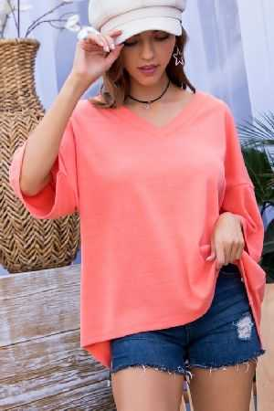 V Neck Short Sleeve Solid Knit Top