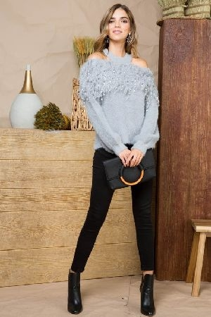 Cold shoulder fringe fuzzy sweater