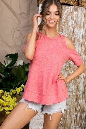 Cotton jersey cold shoulder top