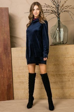 Double hoodie velvet long tunic sweater