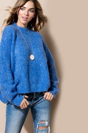 Hi low crew neck dolman sleeve sweater