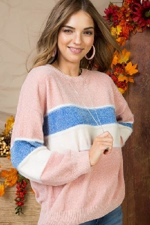 Multi stripe long sleeve knit sweater