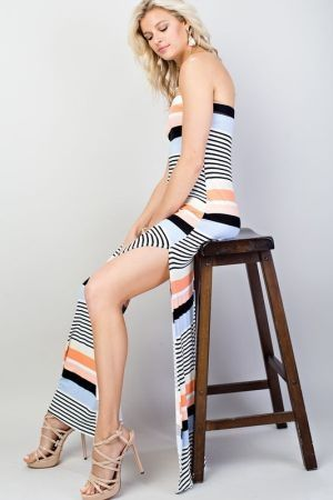 Tube side slit maxi dress