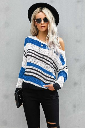 Blue Loose Fit Striped Pattern Sweater