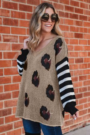 Brown V Neck Leopard Sweater