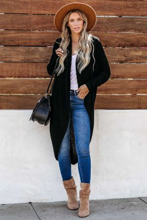 Black Cashmere Blend Convertible Cardigan