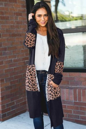 Black Leopard Splicing Colorblock Cardigan