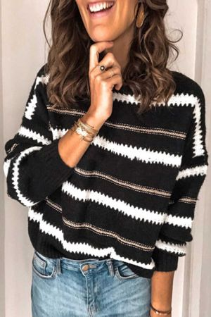 Black Striped Loose Fit Pullover Sweater