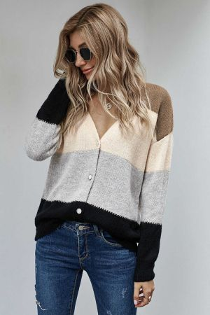 Black V Neck Buttoned Closure Colorblock Sweater Cardigan