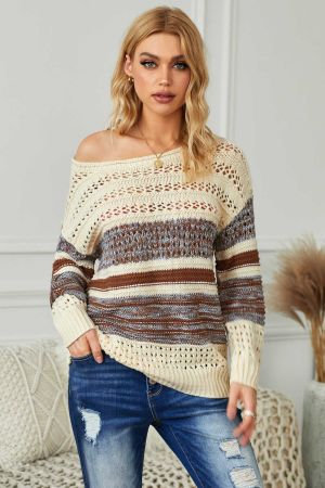 Brown Loose Openwork Round Neck Sweater