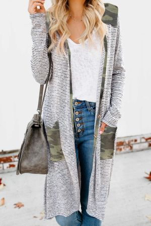 Camo Patchwork Long Striped Cardigan with Pockets
