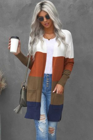 Colorblock Longline Cardigan with Pocket