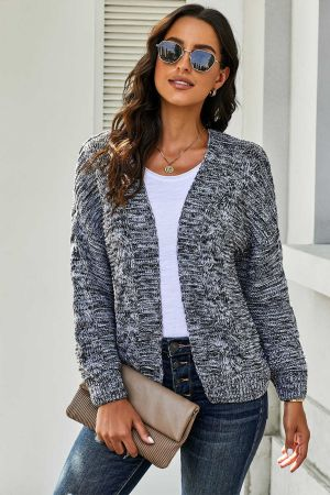 Dark Gray Chunky Wide Long Sleeve Knit Cardigan