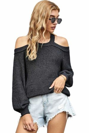 Gray Cool Breeze Cotton Cold Shoulder Sweater