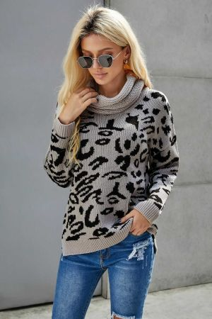 Gray Leopard Cozy Long Sleeves Turtleneck Sweater