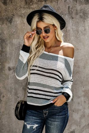 Gray Loose Fit Striped Pattern Sweater