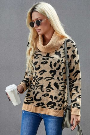 Khaki Leopard Cozy Long Sleeves Turtleneck Sweater