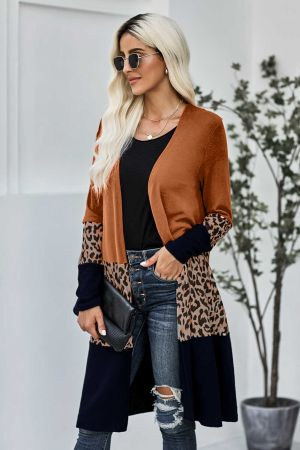 Orange Leopard Splicing Colorblock Cardigan