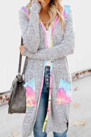 Tie-dye Patchwork Long Striped Cardigan with Pockets