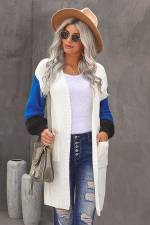 White Cotton-blend Pocketed Colorblock Cardigan