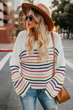 White Rainbow Stripe Pattern Sweater