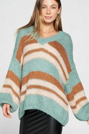 V Neck Cozy Thinck Knit Strepe Pullover Sweater