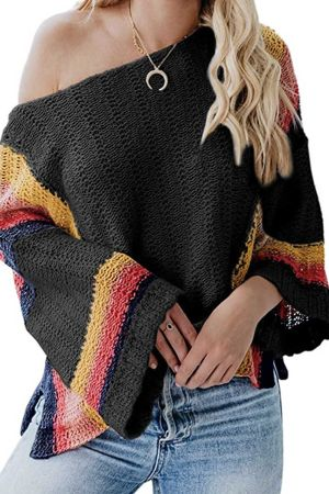 Black Colorblock Bell Sleeve Lightweight Sweater