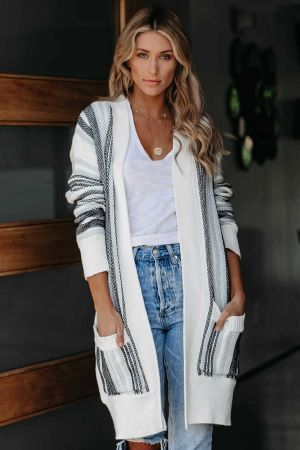 Black Pocketed Cotton Blend Cardigan