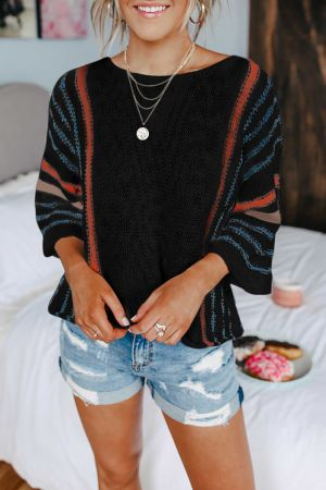 Black Wide Sleeve Striped Beach Sweater