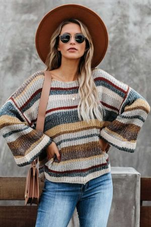 Dropped Shoulder Striped Relaxed Sweater