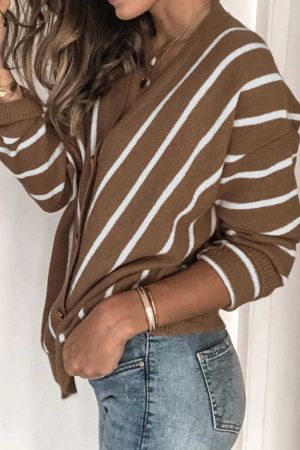 Khaki V Neck Stripe Long Sleeve Cardigan