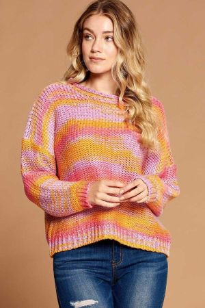 Multi Color Thread Striped Knit Sweater