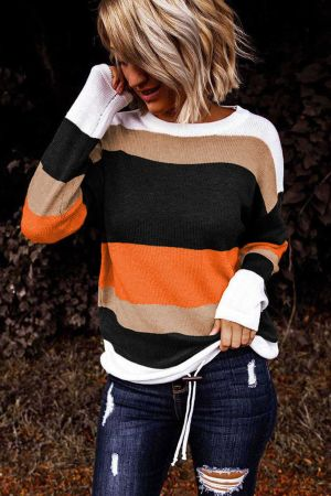 Orange Colorblock Knit Sweater