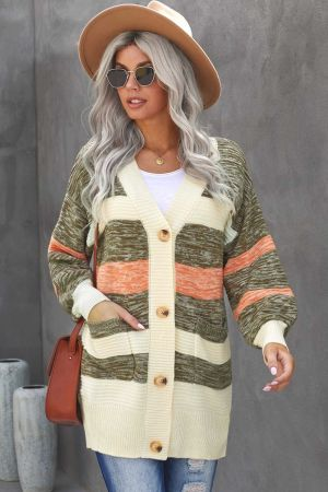 Thick Buttoned Open Front Cardigan with Pocket
