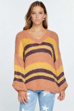 V Neck Cozy Knit Stripe Pullover Sweater