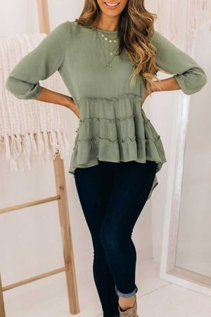 Green High Low Hem Ruffle Sleeve Top