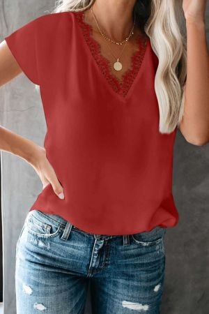Red V Neck Lace Trim T-shirt