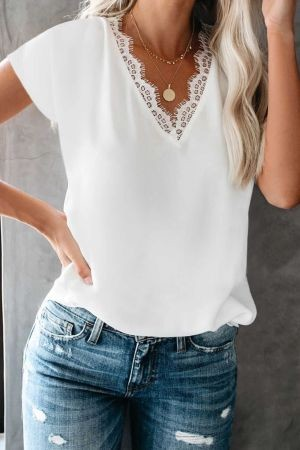 White V Neck Lace Trim T-shirt
