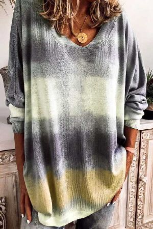 Loose fit v-neck tie-dye sweater top