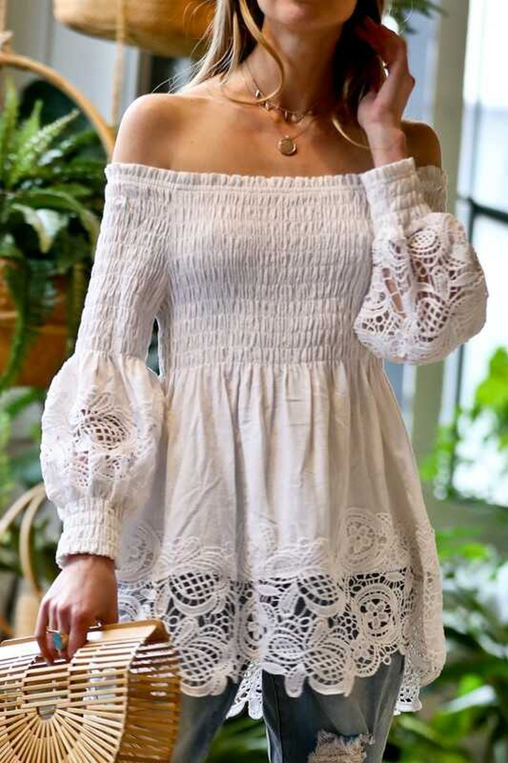 Off shoulder with lace detail blouse top