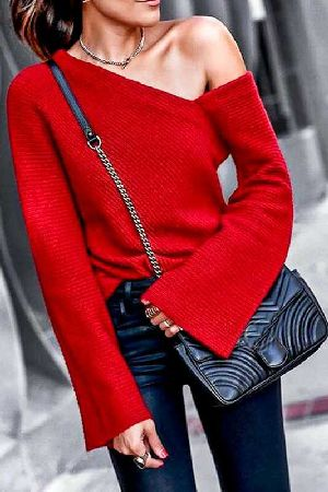 One Shoulder off Bell Sleeve ribbed sweater