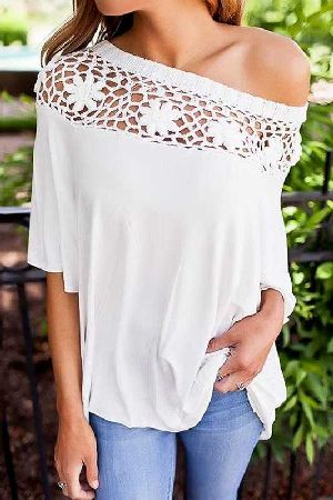 Short sleeve boat neck crotchet detail loose fit blouse top