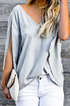 V neck loose fit slit sleeve with tie back blouse top