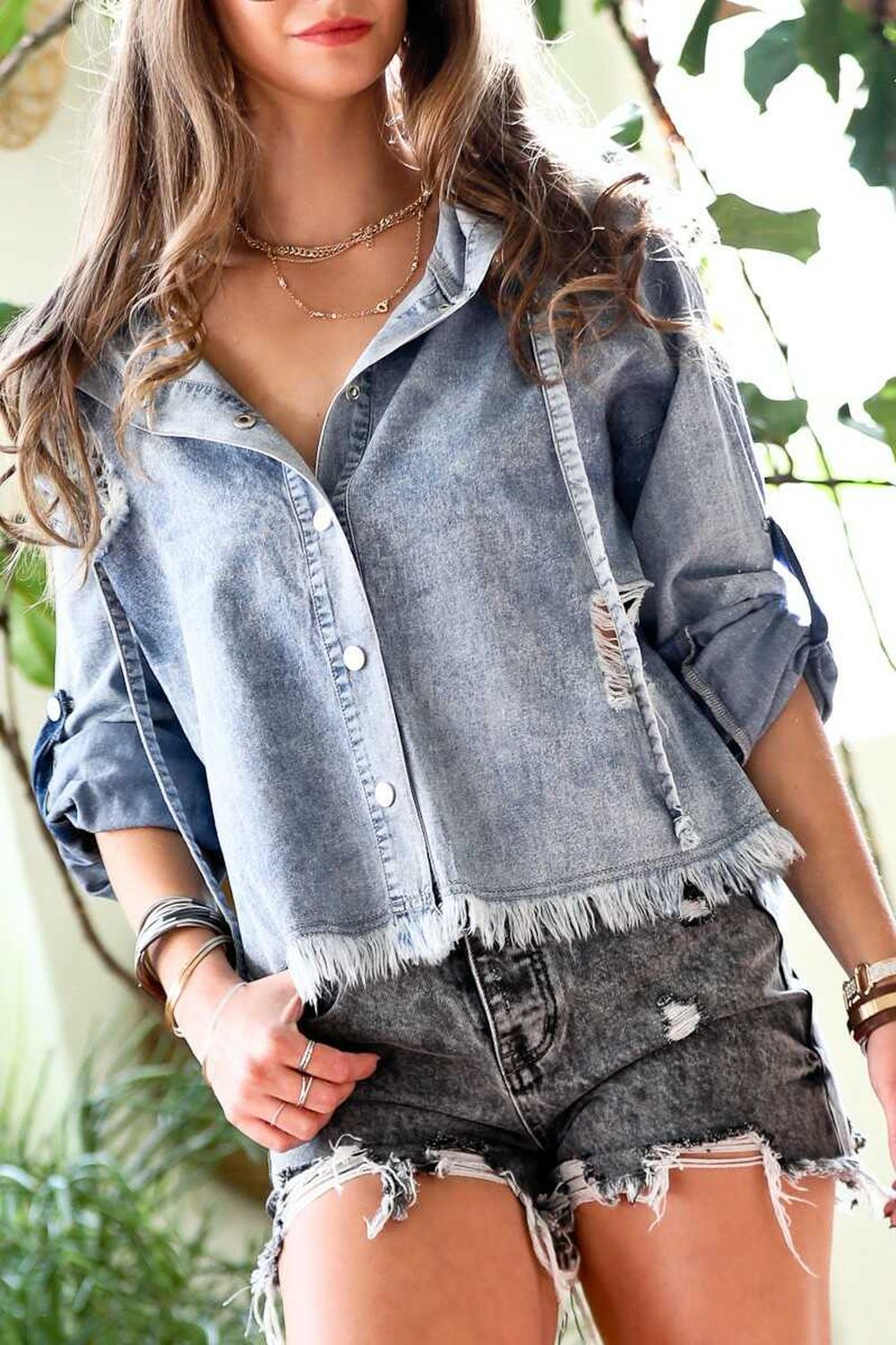 Distressed detail washed denim hood jacket