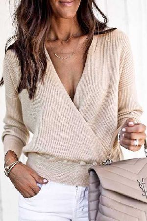 Front criss cross knitted sweater top